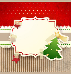 christmas background with paper tree vector image