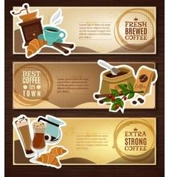 Coffee vintage flat banners set brown vector