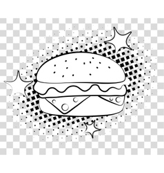 Comic hamburger with halftone shadows fast food vector