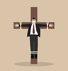 Crucified business man vector