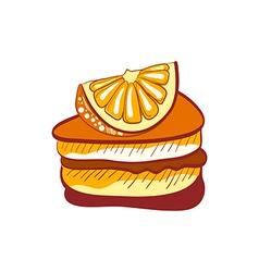 doodle orange cake slice vector image