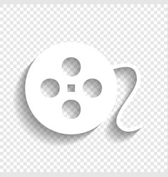 Film circular sign white icon with soft vector