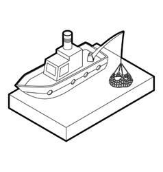 Fishing boat icon outline style vector image vector image