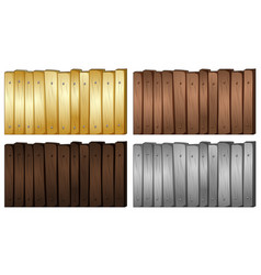 four colors of wood for fence vector image vector image