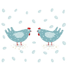 Funny hen and eggs vector