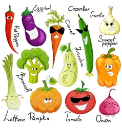 funny vegetable cartoon isolated vector image vector image