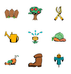 Ground work icons set cartoon style vector