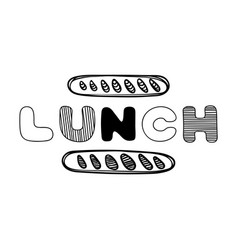Hand drawn lunch logo for cafe with bread vector