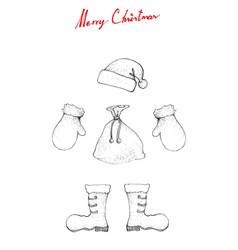 hand drawn sketch of santa clause hat boot bag vector image
