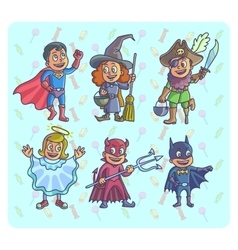 Happy halloween set of cartoon cute children in vector