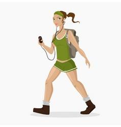 hiking girl vector image vector image