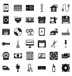 home appliance icons set simple style vector image
