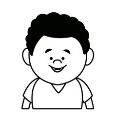 Portrait young boy cartoon person front view vector