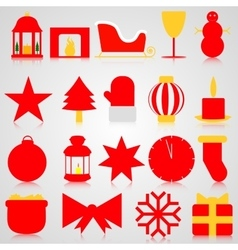 Red icons with christmas paraphernalia on a gray vector
