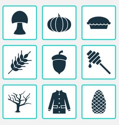 Seasonal icons set with gourd tart champignon vector