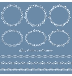 Set collections of vintage lacy borders and frames vector image vector image