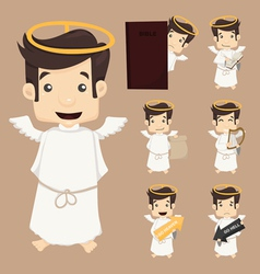 Set of angel characters poses vector