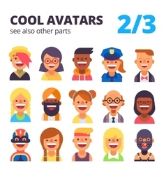 Set of cool avatars 2 of 3 See also other parts vector image vector image