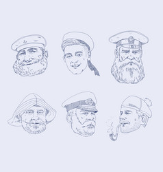 set of portraits different sailors the sailor vector image vector image