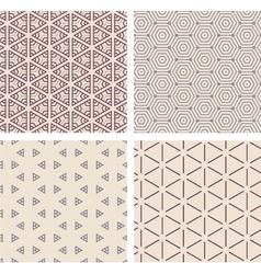 Set of seamless geometric patern vector image vector image