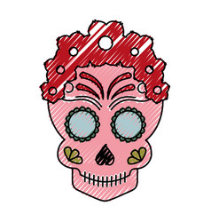 Skull artistic tattoo isolated icon vector
