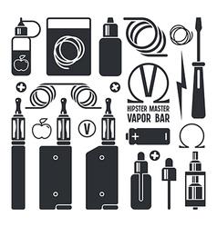 Vape shop and e cigarette icons vector