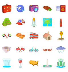 World trip icons set cartoon style vector