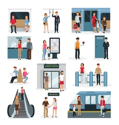 Subway people set vector