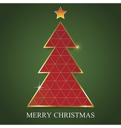 Merry christmas postcard green background vector