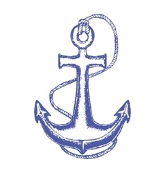 Ship anchor and rope hand draw sketch vector