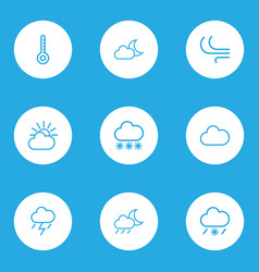 Climate outlines set collection of breeze cloud vector