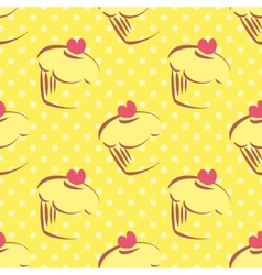 Seamless yellow cake pattern with polka dots vector