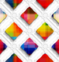 Rainbow colored rectangles on white ornament vector image