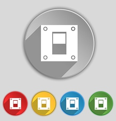Power switch icon sign symbol on five flat buttons vector