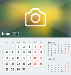 June 2016 desk calendar for 2016 year design print vector