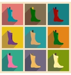 Concept of flat icons with long shadow boots vector