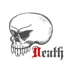 Cracked monster skull stylized sketch vector