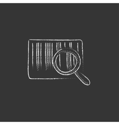 Magnifying glass and barcode drawn in chalk icon vector
