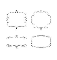 Set of freehand vintage frames vector