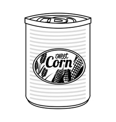 Sweet corn canned isolated icon vector