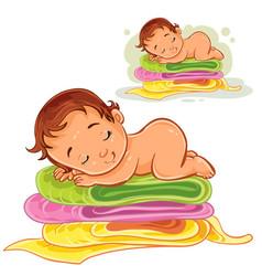 A baby sleeping on a pile vector