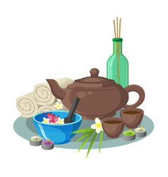 Aroma concept collection of blue bowl green vector