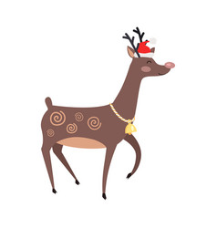 Big reindeer with golden bell and red hat on white vector