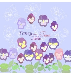 Blue background with pansies vector image vector image
