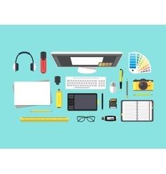Cartoon Designer Workplace vector image vector image
