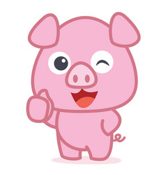 character of cute pig cartoon vector image
