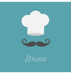 Chef hat and big mustache menu card flat design vector