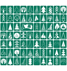 Coniferous and deciduous trees icons vector