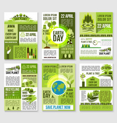 Earth day poster template for ecology design vector