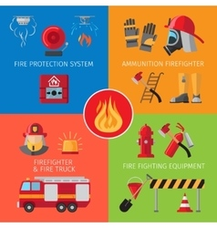 Firefighting inventory concepts vector image vector image